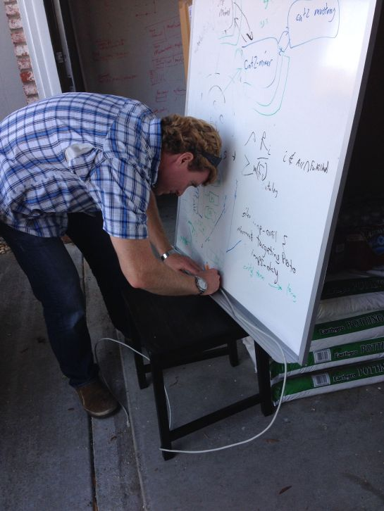 Erik Wittreich building our whiteboard frames