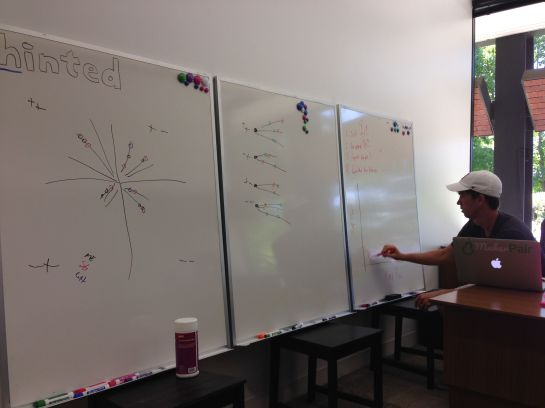 Randy Sternke putting wisdom on the new whiteboards